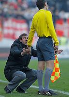 Fudbal Super liga season 2012-2013.Sloboda (Uzice) v Crvena Zvezda.Ljubisa Stamenkovic Piskavac argues with referee sudija.Uzice, 25.11.2012..foto: Srdjan Stevanovic/Starsportphoto ©