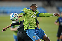 SAN JOSE, CA - OCTOBER 18: Nouhou #5 of the Seattle Sounders goes up for a header during a game between Seattle Sounders FC and San Jose Earthquakes at Earthquakes Stadium on October 18, 2020 in San Jose, California.