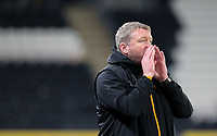 Hull City manager Grant McCann shouts instructions to his team from the technical area<br /> <br /> Photographer Alex Dodd/CameraSport<br /> <br /> EFL Papa John's Trophy - Northern Section - Group H - Hull City v Grimsby Town - Tuesday 17th November 2020 - KCOM Stadium - Kingston upon Hull<br />  <br /> World Copyright © 2020 CameraSport. All rights reserved. 43 Linden Ave. Countesthorpe. Leicester. England. LE8 5PG - Tel: +44 (0) 116 277 4147 - admin@camerasport.com - www.camerasport.com