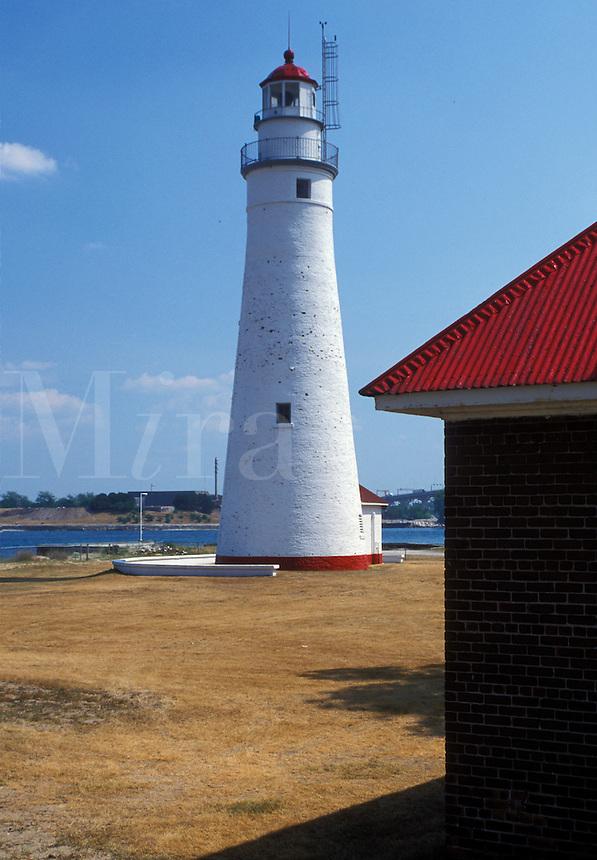 Port Huron, MI, Lake Huron, Michigan, Gratiot Lighthouse on Lake Huron at Port Huron.