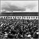 """Residents of the town of Acheng gather at a mass rally to denounce Hang Jingshan as a """"bad character"""" and a """"speculator"""" - someone involved in illegal commerce. He is arrested by the local police after publicly admitting his """"crime."""" Acheng, Acheng county, 21 May 1965"""