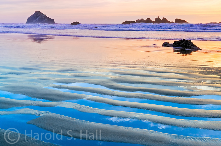 Face Rock on Bandon Beach Oregon at Sunset.