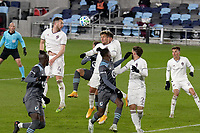 ST PAUL, MN - NOVEMBER 22: Danny Wilson #4 of Colorado Rapids heads the ball during a game between Colorado Rapids and Minnesota United FC at Allianz Field on November 22, 2020 in St Paul, Minnesota.