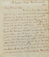 BNPS.co.uk (01202 558833)<br /> Pic: Reeman Dansie/BNPS<br /> <br /> Compassion for Denmark after their defeat...<br /> <br /> A fascinating letter from Admiral Lord Nelson showing his compassionate side to a defeated foe has emerged for sale for £9,000.<br /> <br /> The cuckolded hero wrote to a Danish general two months after triumphing over their fleet in the 1801 Battle of Copenhagen.<br /> <br /> It has been regarded as one of Nelson's greatest triumphs, yet the measure of the man was that he did not wish to gloat.<br /> <br /> Instead, he adopts a conciliatory tone as he praises King George III's decision to let the Danes keep their possessions, adding that he hoped to 'cement closer bonds of union between our two dear countries'.<br /> <br /> The letter is going under the hammer with auctioneers Reeman Dansie, of Colchester, Essex.