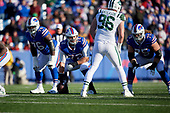 Buffalo Bills guard John Miller (76), center Ryan Groy (72), and tackle Wyatt Teller (75) on the line during an NFL football game against the New York Jets, Sunday, December 9, 2018, in Orchard Park, N.Y.  (Mike Janes Photography)