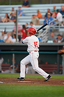 Auburn Doubledays designated hitter Kameron Esthay (15) hits a double during a game against the Connecticut Tigers on August 9, 2017 at Falcon Park in Auburn, New York.  Connecticut defeated Auburn 6-4.  (Mike Janes/Four Seam Images)