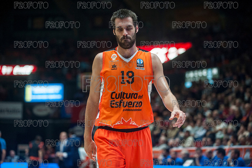 VALENCIA, SPAIN - NOVEMBER 18: Fernando San Emeterio during EUROCUP match between Valencia Basket Club and CAI SLUC Nancy at Fonteta Stadium on November 18, 2015 in Valencia, Spain