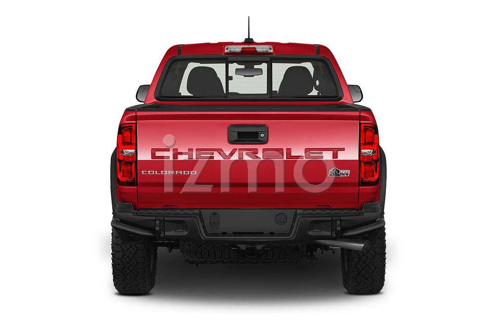Straight rear view of 2021 Chevrolet Colorado ZR2 4 Door Pick-up Rear View  stock images