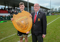 Wednesday 20th March 2019 | 2019 Schools Shield Final<br /> <br /> Sullivan Upper captain Jamie Thallon with Ulster Branch President Stephen Elliott. Ulster Schools Subsidiary Shield after his side defeated Bangor Grammar in the final played at The Dub Arena, Queens University, Belfast, Northern Ireland. Photo by John Dickson / DICKSONDIGITAL