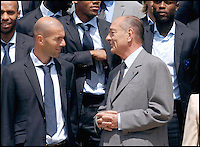 French soccer team and their wifes received in the garden of the elysee palace by French president Jacques Chirac #