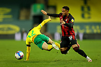 17th April 2021; Carrow Road, Norwich, Norfolk, England, English Football League Championship Football, Norwich versus Bournemouth;  Arnaut Danjuma of Bournemouth takes on Emi Buendia of Norwich City