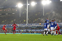 Swansea City's Tom Carroll takes a free kick during the Premier League match between Everton and Swansea City at Goodison Park, Liverpool, England, UK. Monday 18 December 2017