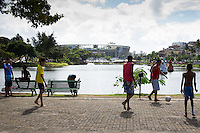 A General View of the Arena Fonte Nova in Salvador with kids playing football