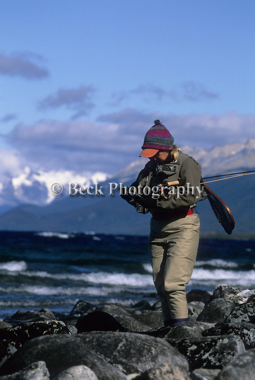 A cold day fly fishing at Lago Vintter, Patagonia, Argentina