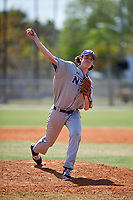 New York University Violets relief pitcher Jack Kurtenbach (38) delivers a pitch during a game against the Edgewood Eagles on March 14, 2017 at Terry Park in Fort Myers, Florida.  NYU defeated Edgewood 12-7.  (Mike Janes/Four Seam Images)