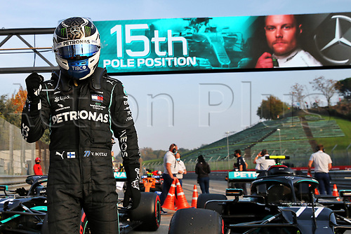 31st October 2020, Imola, Italy; FIA Formula 1 Grand Prix Emilia Romagna, Qualifying;  77 Valtteri Bottas FIN, Mercedes-AMG Petronas Formula One Team with his pole trophy