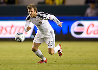 LA Galaxy midfielder David Beckham redirects moving to the ball. The LA Galaxy defeated DC United 2-1at Home Depot Center stadium in Carson, California on Saturday September 18, 2010.