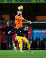 2nd October 2020; Tannadice Park, Dundee, Scotland; Scottish Premiership Football, Dundee United versus Livingston; Calum Butcher of Dundee United towers over Scott Pittman of Livingston as he heads clear