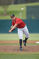 Kannapolis Intimidators relief pitcher Bennett Sousa (11) in action against the Rome Braves at Kannapolis Intimidators Stadium on April 7, 2019 in Kannapolis, North Carolina. The Intimidators defeated the Braves 2-1. (Brian Westerholt/Four Seam Images)