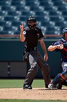 Umpire Sean Shafer-Markle calls a strike during an Eastern League game between the Binghamton Rumble Ponies and Bowie Baysox on August 21, 2019 at Prince George's Stadium in Bowie, Maryland.  Bowie defeated Binghamton 7-6 in ten innings.  (Mike Janes/Four Seam Images)