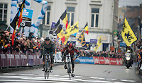 finish sprint between Ian Stannard (GBR) & Greg Van Avermaet (BEL) in the center of Gent, with the Brit holding the Belgian off just until the line and winning the biggest race in his career thus far<br /> <br /> Omloop Het Nieuwsblad 2014