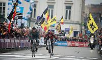 finish sprint between Ian Stannard (GBR) & Greg Van Avermaet (BEL) in the center of Gent, with the Brit holding the Belgian off just until the line and winning the biggest race in his career thus far<br /> <br /> Omloop Het Nieuwsblad 2014