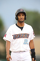 Roberto Baldoquin (21) of the Inland Empire 66ers during a game against the Stockton Ports at San Manuel Stadium on June 28, 2015 in San Bernardino, California. Stockton defeated Inland Empire, 4-1. (Larry Goren/Four Seam Images)