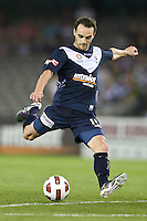 MELBOURNE, AUSTRALIA - OCTOBER 30: Tom Pondeljak of the Victory kicks for goal during the round 12 A-League match between the Melbourne Victory and Adelaide United at Etihad Stadium on October 30, 2010 in Melbourne, Australia.  (Photo by Sydney Low / Asterisk Images)