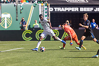 Portland, Oregon - Sunday October 6, 2019: Dairon Asprilla #27 scores a goal to make it 2-1 during a regular season match between Portland Timbers and San Jose Earthquakes at Providence Park in Portland, Oregon.