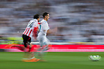 Lucas Vazquez (R) of Real Madrid is followed by Mikel Balenziaga Oruesagasti of Athletic Club de Bilbao during the La Liga 2017-18 match between Real Madrid and Athletic Club Bilbao at Estadio Santiago Bernabeu on April 18 2018 in Madrid, Spain. Photo by Diego Souto / Power Sport Images