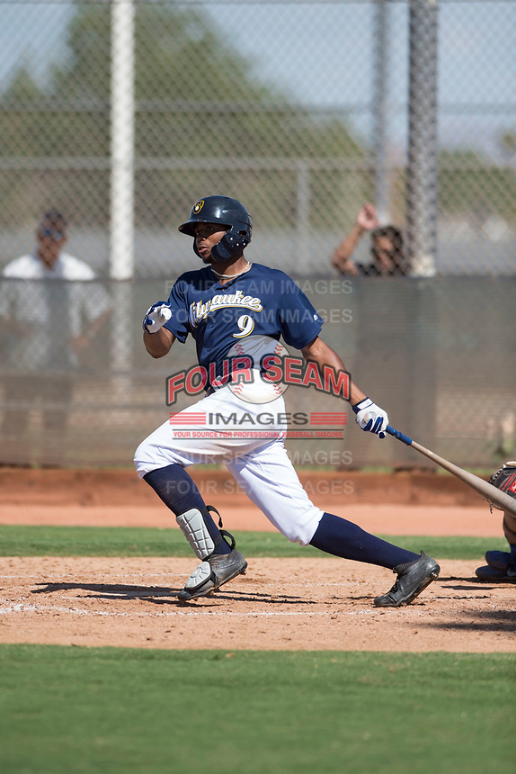 Milwaukee Brewers center fielder Joe Gray (9) follows through on his swing during an Instructional League game against the Los Angeles Dodgers at Maryvale Baseball Park on September 24, 2018 in Phoenix, Arizona. (Zachary Lucy/Four Seam Images)