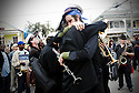 Ben Schenk hugs a fellow band member at the beginning of  a traditional jazz funeral for filmmaker Helen Hill in New Orleans, Saturday, Feb. 24, 2007. Hill was murdered in her New Orleans home in front of her husband and baby on Jan. 4, the sixth New Orleans murder in less than 24 hours, sparking outrage and a huge protest from the city's residents..(AP Photo/Cheryl Gerber).