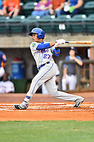 Kingsport Mets right fielder Wagner Lagrange (27) swings at a pitch during a game against the Greeneville Astros at Pioneer Park on July 1, 2017 in Greeneville, Tennessee. The Astros defeated the Mets 6-2. (Tony Farlow/Four Seam Images)