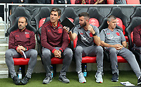 Southampton manager Mauricio Pellegrino (2nd L) with assistants in the dug out prior to the Premier League match between Southampton and Swansea City at the St Mary's Stadium, Southampton, England, UK. Saturday 12 August 2017