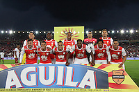 IBAGUE -COLOMBIA, 14-12-2016.Formación del Independiente Santa Fe campeón de la Liga Aguila II 2016.Acción de uego entre el Deportes Tolima e Independiente Santa Fe  durante encuentro  por la final ida de la Liga Aguila II 2016 disputado en el estadio Manuel Murillo Toro./ of Liga Aguila II 2016.Team of Independiente Sant Fe champion Action game between Deportes Tolima  and Independiente Santa Fe  during match for the firts match final of the Aguila League II 2016 played at Manuel Murillo Toro  stadium . Photo:VizzorImage / Felipe Caicedo  / Staff