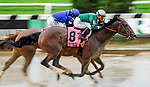 June 4, 2021: Estilo Talentoso #8, ridden by Javier Castellano, wins the Bed O' Roses Stakes during Friday racing at the Belmont Stakes Festival at Belmont Park in Elmont, New York. Scott Serio/Eclipse Sportswire/CSM