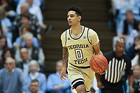 CHAPEL HILL, NC - JANUARY 4: Michael Devoe #0 of Georgia Tech dribbles the ball during a game between Georgia Tech and North Carolina at Dean E. Smith Center on January 4, 2020 in Chapel Hill, North Carolina.