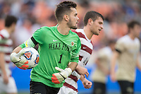 Houston, TX -  Sunday, December 11, 2016: Wake Forest Demon Deacons Goalkeeper, Andrea Cases Mundet (1) of the Wake Forest Demon Deacons prepares to clear the ball in the /2h against the Stanford Cardinal at the  NCAA Men's Soccer Finals at BBVA Compass Stadium.
