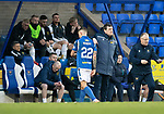 St Johnstone v Livingston…..07.03.20   McDiarmid Park  SPFL<br />A pat on the back for goal scorer Callum Hendry from manager Tommy Wright as he is subbed<br />Picture by Graeme Hart.<br />Copyright Perthshire Picture Agency<br />Tel: 01738 623350  Mobile: 07990 594431