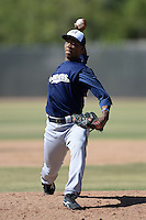 Milwaukee Brewers pitcher Miguel Diaz (54) during an instructional league game against the Colorado Rockies on October 1, 2013 at Maryvale Baseball Park Training Complex in Phoenix, Arizona.  (Mike Janes/Four Seam Images)
