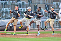 Columbia Fireflies grounds crew The Fly Guys during the South Atlantic League All Star Game at Spirit Communications Park on June 20, 2017 in Columbia, South Carolina. The game ended in a tie 3-3 after seven innings. (Tony Farlow/Four Seam Images)
