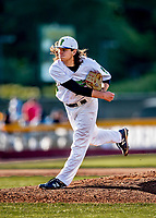 12 June 2021: Vermont Lake Monsters starter Billy Oldham, from Brookfield, CT, on the mound as winning pitcher against the Westfield Starfires at Centennial Field in Burlington, Vermont. The Lake Monsters defeated the Starfires 4-1 at Centennial Field, in Burlington, Vermont. Mandatory Credit: Ed Wolfstein Photo *** RAW (NEF) Image File Available ***