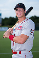 Greenville Drive third baseman Bobby Dalbec (23) poses for a photo prior to the game against the Kannapolis Intimidators at Kannapolis Intimidators Stadium on August 7, 2017 in Kannapolis, North Carolina.  The Drive defeated the Intimidators 6-1.  (Brian Westerholt/Four Seam Images)