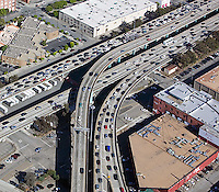 aerial photograph heavy freeway traffic San Francisco, California