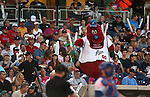 Archie entertains the crowd during a game between the Reno Aces and the Las Vegas 51s, in Reno, Nev., on Saturday, Sept. 6, 2014. The Aces won 7-3, to win the Pacific Conference Championship Series. <br /> Photo by Cathleen Allison
