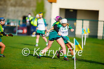 Kerry's Niamh Leen putting Jane Dolan of Meath under pressure in the Camogie Intermediate Championship