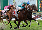 Feb 2011:  Expansion and Gerard Melancon (11) win the Fair Grounds Handicap at the Fairgrounds in New Orleans, Louisiana.