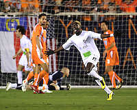 Sandy Gbandi #15 of the Puerto Rica Islanders after scoring during the second leg of the USSF-D2 championship match against theCarolina Railhawks at WakeMed Soccer Park, in Cary, North Carolina on October 30 2010.