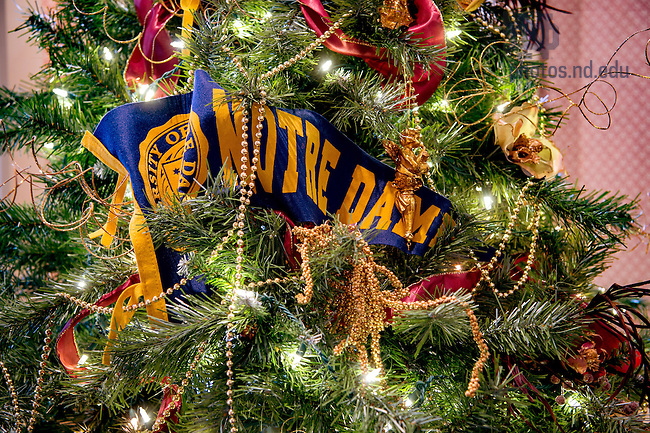 January 3, 2017; Pennant decorating a Christmas Tree in the Admissions lounge. (Photo by Matt Cashore/University of Notre Dame)