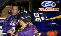2/3/05 Daytona Beach, FL.Greg Biffle (in cockpit) talks with teammate Scott Maxwell after a practice run in the #49-Ford Multimatic.